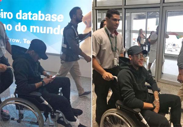 Neymar ngồi xe lăn ra sân bay chuẩn bị về quê nhà Brazil phẫu thuật hôm 28/2.