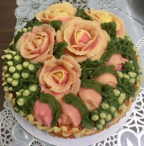 Xôi hoa đậu xanh đẹp như bánh gato - 1