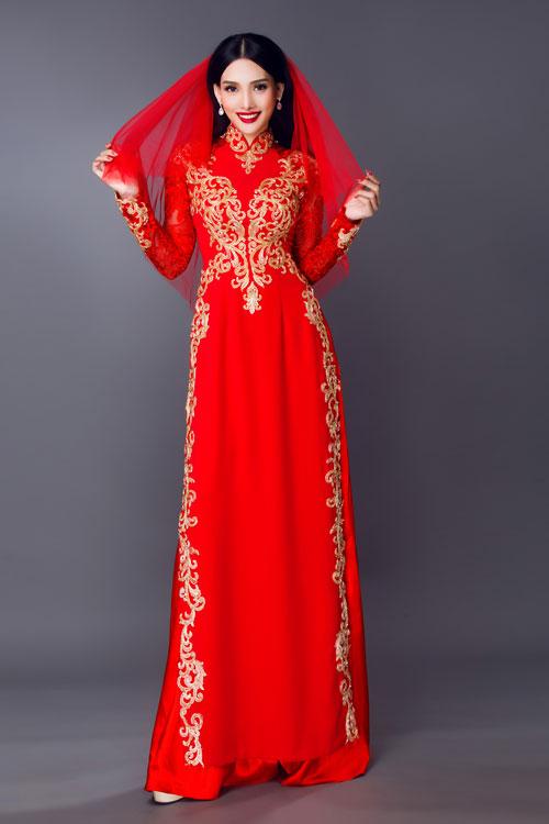 Cô dâu có thể kết hợp áo dài cưới cùng khăn voan cho ngày lễ vu quy.
