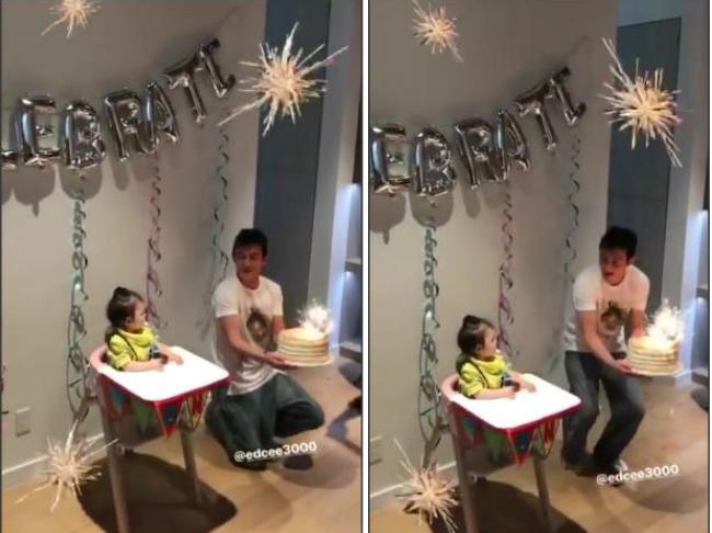 Trần Quán Hy trông phấn khích hơn cả con gái khi thắp nến trên chiếc bánh sinh nhật. Trong khi đó, cô con gái tò mò và ngạc nhiên nhìn ngắmkhắp nơi.