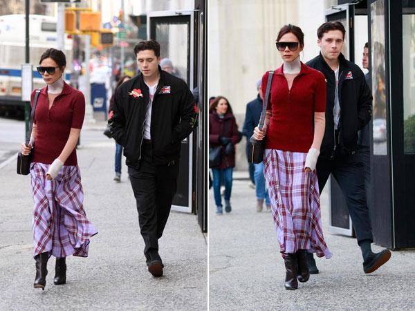 Một ngày sau đó, cựu thành viên nhóm Spice Girls đị dạo ở Manhattan với cậu con trai đầu lòng Brooklyn.