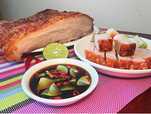 Thịt heo quay thành phẩm giòn ngon. Ảnh: Nguyễn Tâm