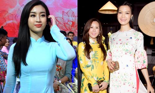 Đỗ Mỹ Linh, Thùy Dung, Thu Hoài duyên dáng dự Lễ hội áo dài