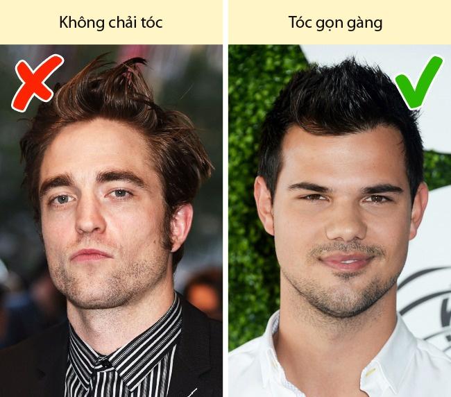 Kiểu tóc. Đàn ông cũng có nhiều lựa chọn về kiểu tóc dài hay ngắn, thẳng hay xoăn, tối hay sáng màu, như phụ nữ. Nhưng điều quan trọng nhất là họ cần giữ cho đầu tóc gọn gàng, sạch sẽ. Nhiều nam giới, vì một vài lý do, thường quên chải đầu, khiến người đối diện cảm thấy họ thiếu chỉn chu.