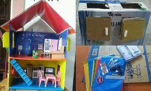 Bà mẹ Lâm Đồng làm căn nhà búp bê đủ nội thất bằng bìa carton