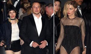 Tỷ phú Elon Musk đi tiệc cùng cô gái lạ, chạm mặt tình cũ Amber Heard