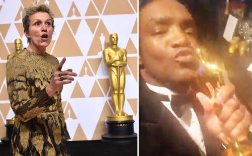 Terry Bryant (bên phải) đã chôm tượng vàng của nữ diễn viên Frances McDormand trong bữa tiệc hậu Oscar.