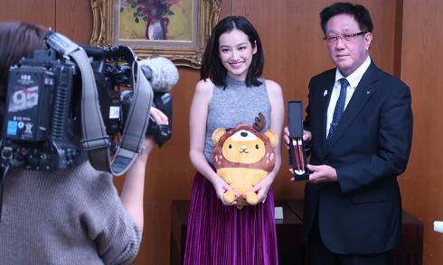 Hoa hậu Trúc Diễm xuất hiện trên truyền hình Nhật Bản