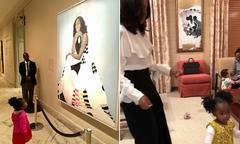 Bé 2 tuổi nổi tiếng sau bức ảnh ngắm chân dung bà Michelle Obama