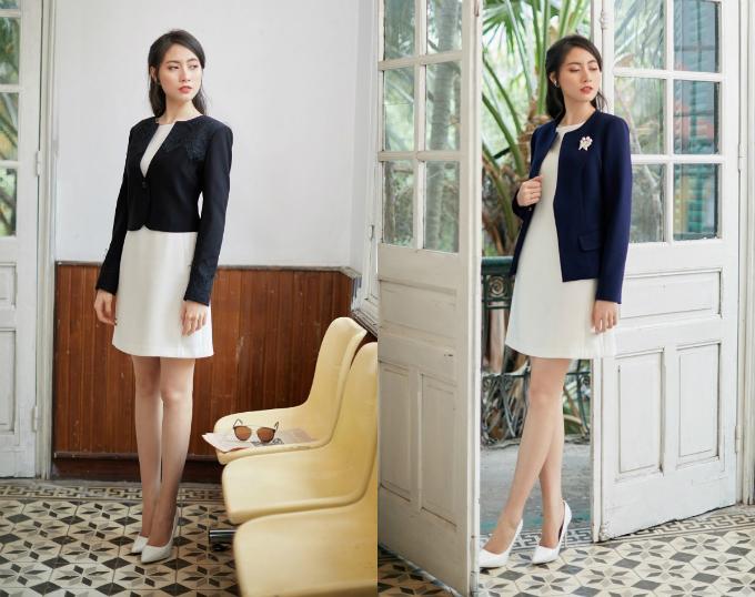 Áo khoác tăng thêm vẻ thanh lịch cho trang phục váy ngắn. Tham khảo thêm các mẫu áo khoác của Demeyo tại đây.