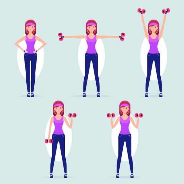 Bài tập với tạ đôi Các động tác tay với tạ đôi giúp làm săn chắc bắp tay. Đây là vùng mỡ thừa khó giảm nhất trên cơ thể. Bạn cần tập luyện thường xuyên để nhóm cơ này săn chắc hơn.