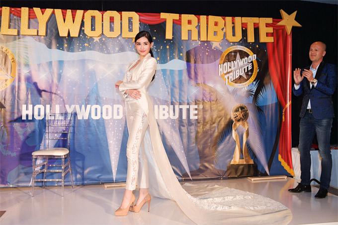 Ngân Anh được nhà thiết kế Patrick Phạm mời sang Mỹ biểu diễn trong đêm thời trang trước lễ trao giải Oscar.