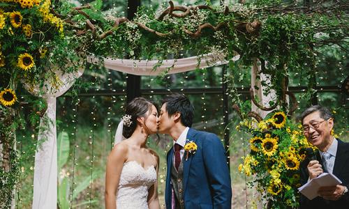 Tiệc cưới vàng rực hoa hướng dương trong ngôi nhà kính