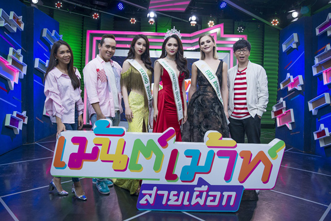 Sau khi di chuyển từ Pattaya về Bangkok (Thái Lan) sáng 12/3, Hương Giang cùng hai Á hậu của Hoa hậu Chuyển giới Quốc tế 2018 tham gia hai talkshow của hai kênh truyền hình lớn.