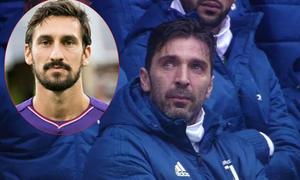 Buffon rớt nước mắt trong phút mặc niệm thủ quân xấu số của Fiorentina