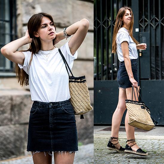 Áo thun và trang phục jean gần như là một cặp đôi hoàn hảo và giúp người mặc có được sự nặng động và trẻ trung. Diện áo trắng cùng quần jean đen, chân váy xé gấu hay short đều là phong cách quen thuộc của những nàng chuộng style tối giản.