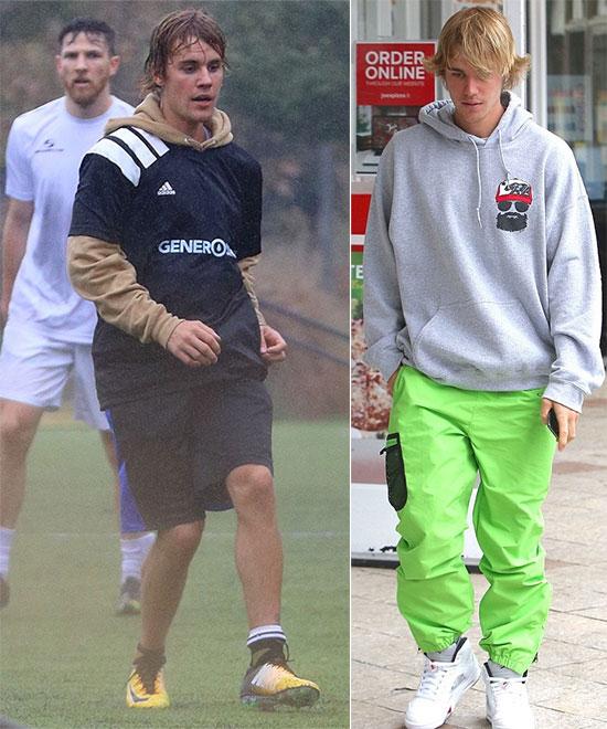 Justin đi đá bóng và mua đồ ăn trên phố hôm chủ nhật.