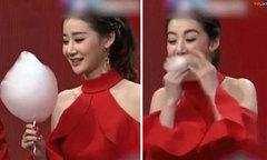 Nữ MC gây sốt với màn thi ăn kẹo bông trong 'một nốt nhạc'