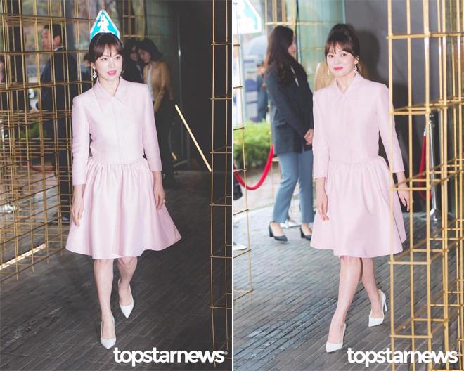 Song Hye Kyo diện váy xòe bó eo, đi giày cao gót giữa tin đồn bầu bí - 1