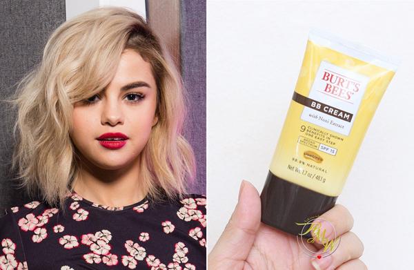 Tuýp bb cream của Burts Bees được Selena Gomez sử dụng cho cả những lần xuất hiện trên thảm đỏ. Sản phẩm có giá 7,8 USD (khoảng 160.000 đồng)