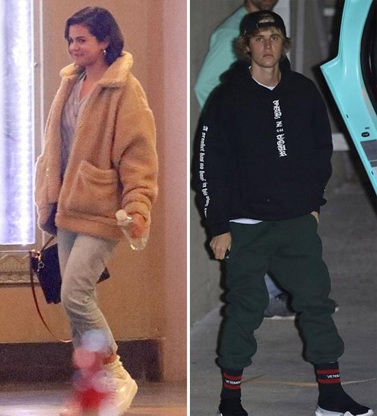 Selena Gomez rời nhà thờ ở Los Angeles vào tối 14/3 với tâm trạng khá vui vẻ. Justin Bieber cũng được trông thấy đi lễ vào hôm đó.