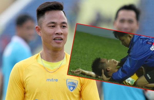 Xuân Thành bất tỉnh trong trận đấu Thanh Hóa - TP HCM: Ảnh: NN.