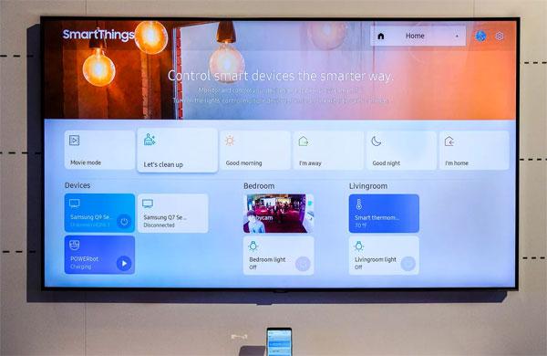 SmartThings trên TV QLED của Samsung. Ảnh: The Verge.