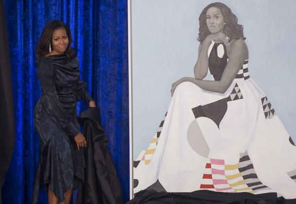 Bà Michelle trong lễ công bố tranh chân dung của mình hồi tháng 2. Ảnh: Telegraph