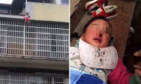Bé gái 3 tuổi ngã từ trên cao được người qua đường dùng chăn cứu sống