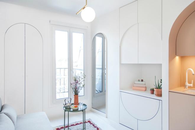 Thiết kế tủ âm tường: Các kiến trúc sư của Batiik Studio đã đem tới một không gian sống thanh lịch và đủ tiện ích cơ bản cho chủ căn nhà 11 m2 trên tầng 10.