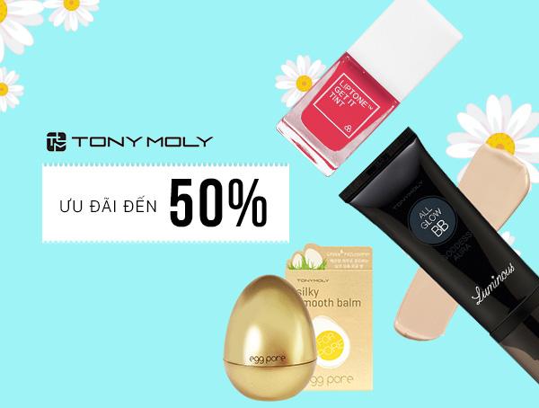 Tony Moly mang đến chương trình giảm đến 50%. Khách nhập mã giảm thêm tất cả 12%.