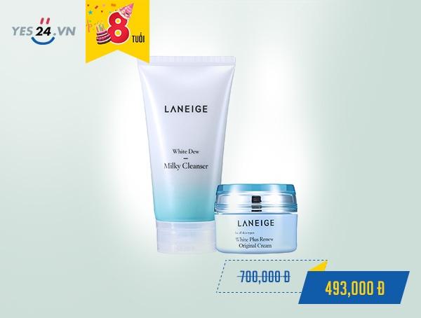 Bộ đôi dưỡng trắng da căn bản Laneige White Dew Milky Cleanser giá 493.000 đồng.