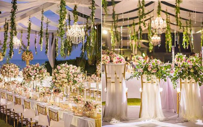 Màu sắc của hôn lễ được cô dâu chú rể lựa chọn là màu hồng với ý tưởng tạo nên một giấc mơ hoa. Bởi theo Hongkiu, mỗi cô dâu đều ấm ủ một đám cưới trong mơ (tất nhiên mỗi người có một giấc mơ khác nhau). Cô dâu nổi tiếng đã sử dụng phần lớn hoa tươi để trang trí các góc trong không gian tiệc cưới.