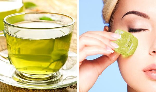 Dùng nước trà xanh làm đá viên, lấy massage mỗi ngày giúp làm săn chắc da, hạn chế các dấu hiệu lão hoá sớm.