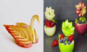 Cách tạo hình thiên nga, hoa hồng từ trái táo