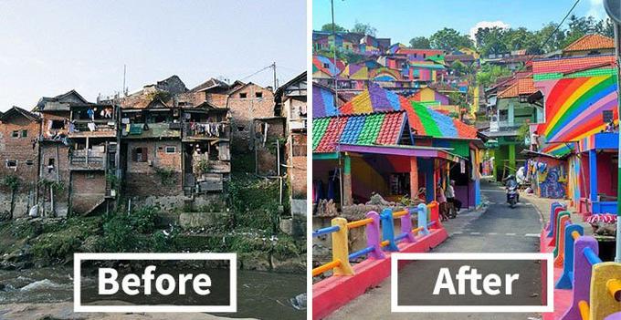 Làng cầu vồng được cứu sống từ khu ổ chuột ở Indonesia