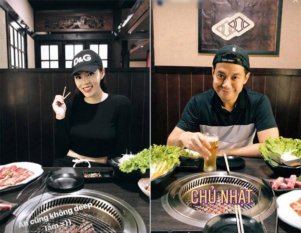 Hoa hậu và bạn trai cũ của Tú Anh cùng check in tại một quán ăn khi cùng nhau thưởng thức bữa tối.