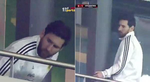 Sau khi Isco ghi bàn ấn định tỷ số 6-1 ở phút 74, Messi đứng dậy, rời chỗ ngồi.