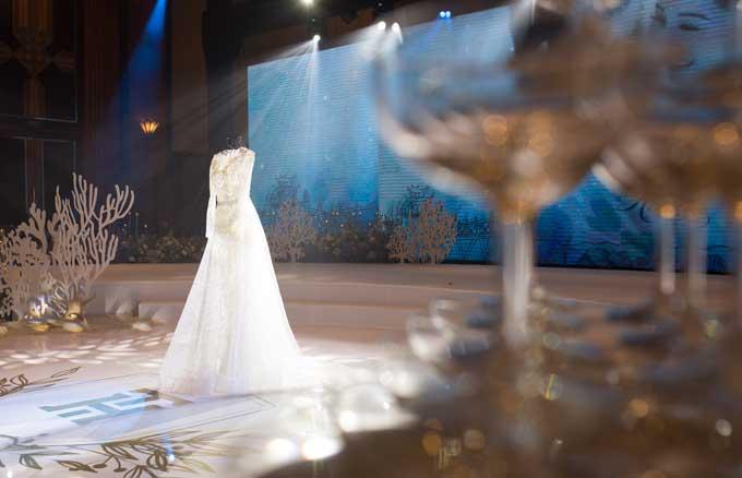 Đơn vị thực hiện tiệc cưới cũng cho biết họ đã lắp đặt hệ thống chiếu sáng cao cấpriêng cho hôn lễ này nhằm đảm bảo có được ánh sáng trong và màu xanh. Những bức ảnh được chụp trong phòng tiệc nhờ đó cũng trở nên lung linh hơn.