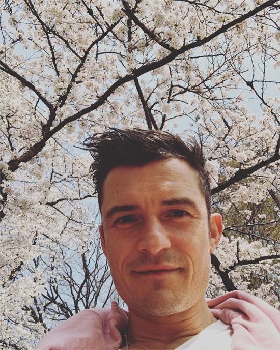 Trong lúc Katy bận rộn chuẩn bị cho các đêm diễn, Orlando Bloom tranh thủ đi ngắm hoa anh đào. Tài tử khoe ảnh selfie dưới bầu trời ngợp sắc hoa.