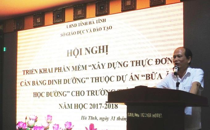 Ông Nguyễn Quốc Anh  Phó Giám đốc Sở GDĐT Hà Tĩnh chia sẻ kế hoạch triển khai dự án trên đại bạn tỉnh trong thời gian sắp tới.