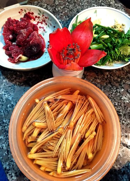 Nhụy hoa gạo xào thịt bò - 4
