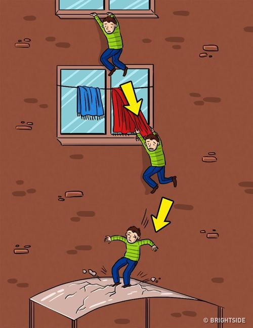 Trong trường hợp bị rơi xuống từ cửa sổ, hãy cố bám lấy bất cứ thứ gì để giảm tốc độ cú rơi.