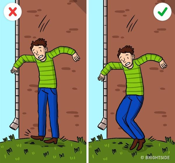 Đừng quên khum đầu gối, thay vì tiếp đất với hai chân duối thẳng hoặc dạng ra hay chỉ đứng bằng một chân.