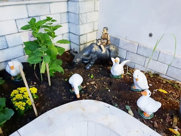 Bà mẹ hai con trang trí khu vườn bằng những bức tượng sứ hình con vật. Đây là góc yêu thích của các con Thanh Thảo.