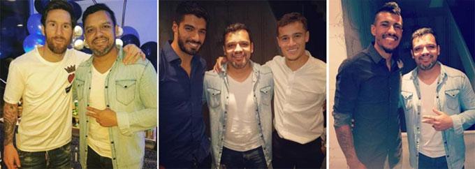 Bộ ba cầu thủ Barca tới sinh nhật vợ Coutinho. Ảnh: NN.