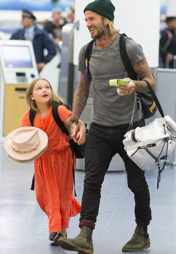 Harper Seven Beckham and DB pictured departing from Miami International Airport on January 5th 2018.