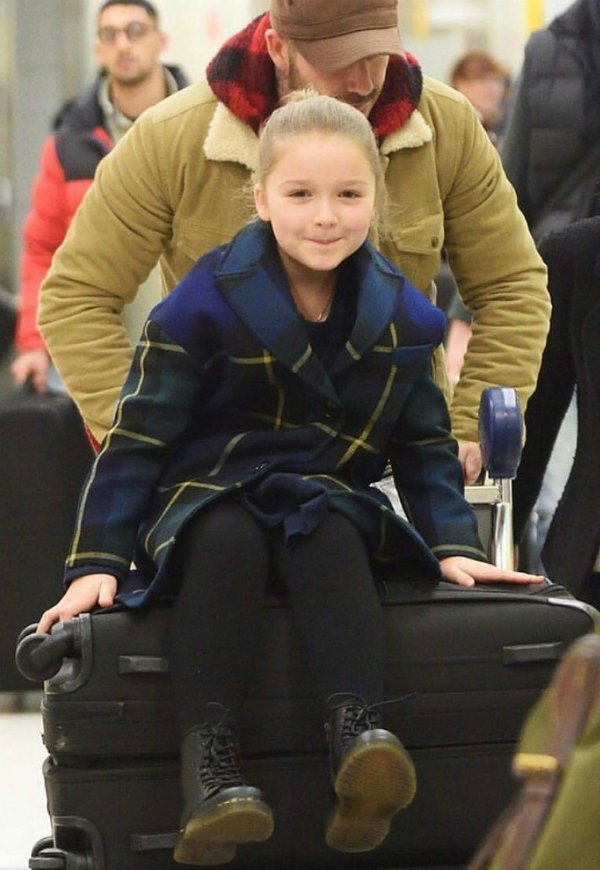 Harper Seven Beckham is all smiles while arriving to JFK airport on Saturday, February 10th 2018. VBs show is tomorrow.