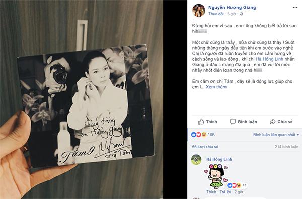 Hương Giang vuikhi nhận được món quà trân quý từ Mỹ Tâm.