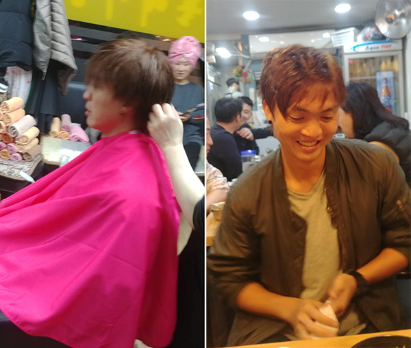 Tuấn Anh tươi cười sau khi cắt tóc. Ảnh: AN.